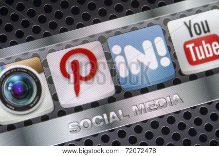 Belgrade - August 30, 2014 Social Media Icons Pinterest Linkedin And Other On Smart Phone Screen Clo