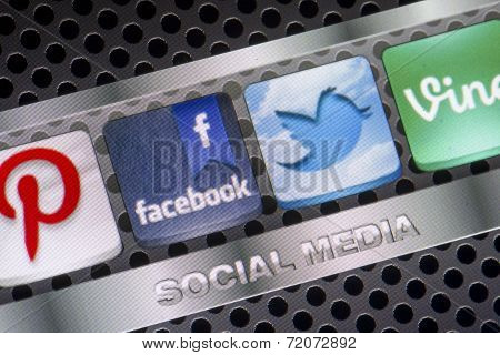 Belgrade - August 30, 2014 Social Media Icons Twitter, Facebook And Other On Smart Phone Screen Clos