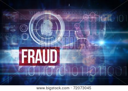 The word fraud and mature businessman holding an umbrella against pink technology hand print interface design