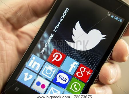 Belgrade - April 14, 2014: Social Media Icons Twitter, Facebook, And Other On Smart Phone Screen