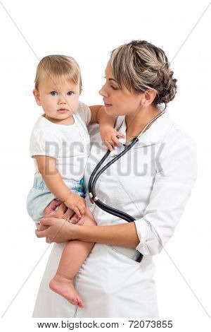 Pediatrist Doctor Holding Baby On Hands