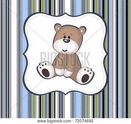 Cute Teddy Bear Card With Label Frame