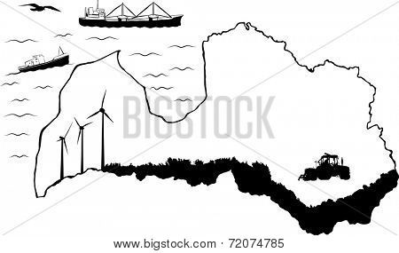 Map of Latvia with baltic sea. Fishing and cargo ships in water. Tractor and wind turbines on map