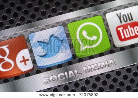 Belgrade - August 30, 2014 Social Media Icons Whatsapp, Twitter And Other On Smart Phone Screen Clos
