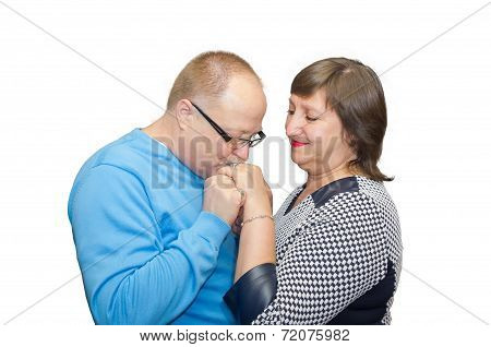 Husband Kissing The Hand Of His Wife