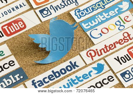 Belgrade - June 17, 2014 Social Media Website Logos Facebook, Twitter And Other Printed On Paper And