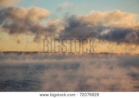 Sea Smoke over Bar Harbor