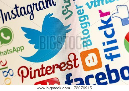 Belgrade - May 13, 2014 Twitter And Other Popular Social Media Website Logos On Personal Computer Sc