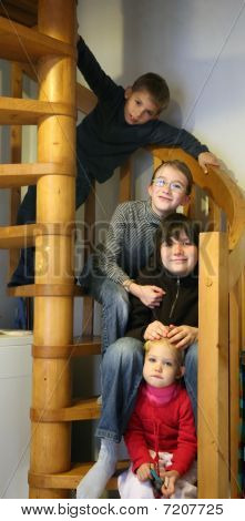 Kids In Staircase