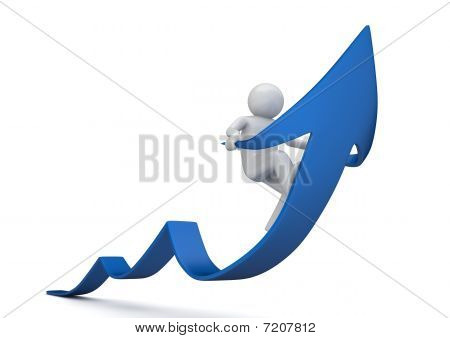 Riding Blue Arrow Of Success