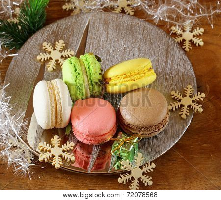 multicolor French macaroons sweet treats Christmas present