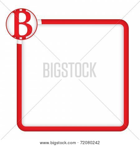 Red Frame For Any Text With Bit Coin Symbol