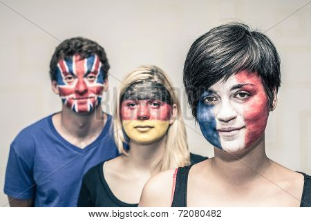 People With Painted European Flags On Faces