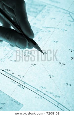 Surveyor's Plan And Pencil With Backlight