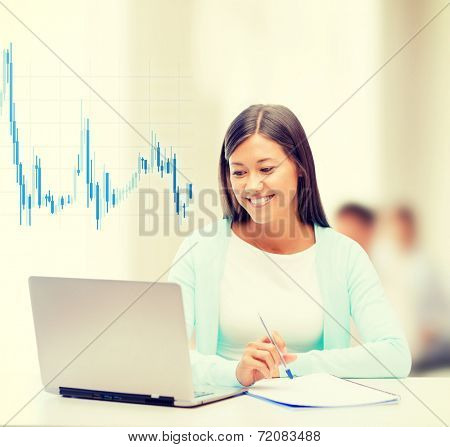 business, money and technology concept - asian businesswoman with laptop, documents and forex chart in office