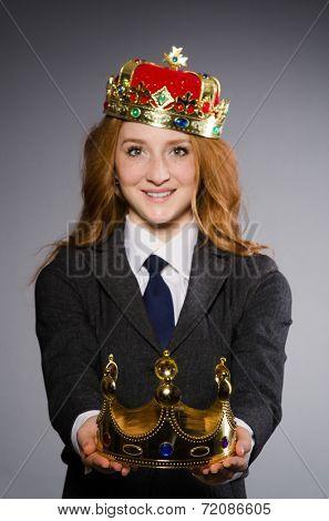 Queen businesswoman in funny concept
