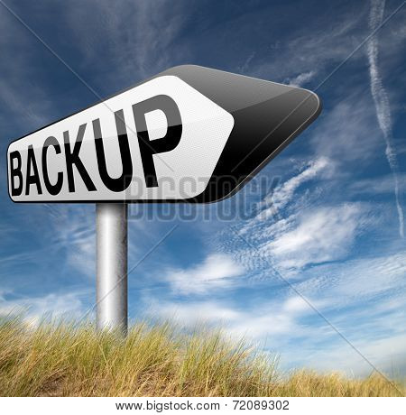 Backup data and software on copy in the cloud on a harddrive disk on a computer or server for flie security. Extra folder on external harddrive for document recovery.