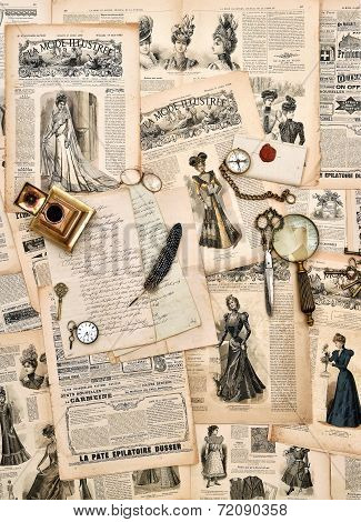 Antique Office Supplies, Old Letters, Writing Tools, Vintage Fashion Magazine