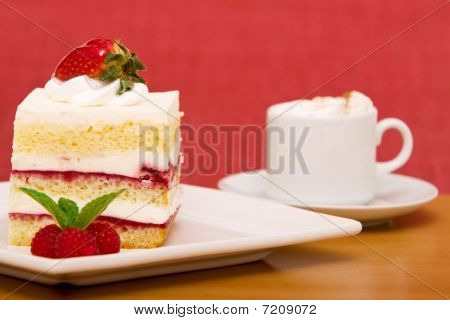 Strawberry Cake With Cappuccino