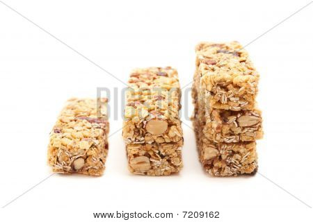 Stacked Granola Bars Isolated On White