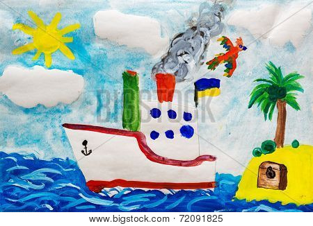 Ship near island. Child drawing.