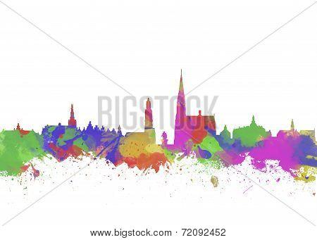 Watercolor Art Print Of The Skyline Of Antwerp In Belgium