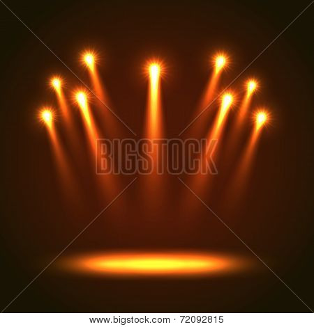 Vector Background With Group Bright Spotlights
