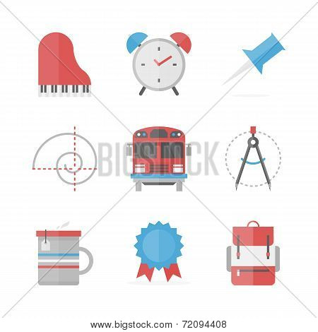 School Objects Flat Icons Set