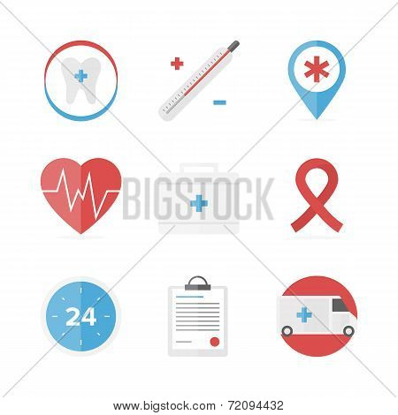 Medical And Healthcare Assistance Flat Icons Set