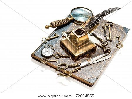 Antique Keys, Pocket Watch, Ink Pen, Loupe, Book
