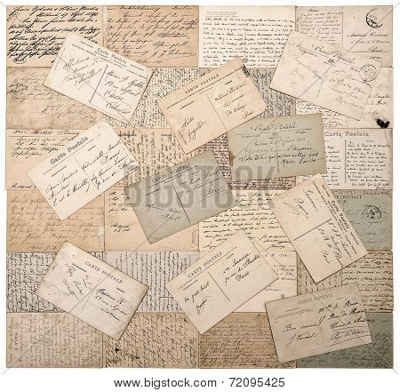Old Postcards. Handwritten Undefined Texts. Retro Style Papers Background