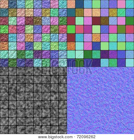 Glazed Tiles Seamless Generated Texture (with Diffuse, Bump And