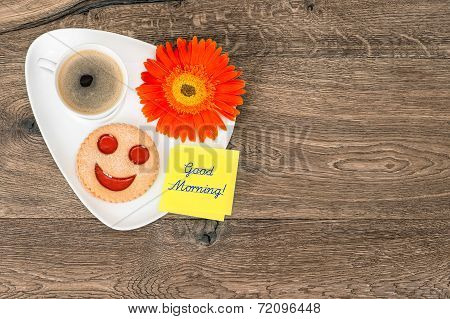 Coffee With Smiling Cookie And Daisy Flower