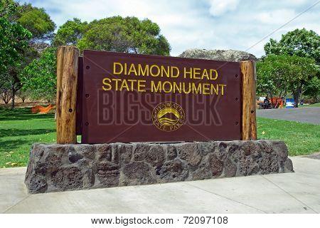 Diamond Head State Monument Park Sign Close Honolulu On Oahu Hawaii