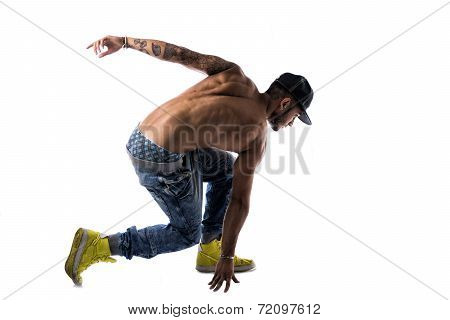 Athletic Trendy Shirtless Young Man Doing Break Dance Routine