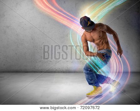 Athletic Trendy Young Man Doing A Break Dance Routine