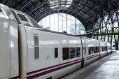 pic of railroad car  - train cars on a modern train station - JPG