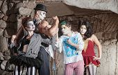 pic of drama  - Circus comedy drama ensemble performing at outdoor theatre - JPG
