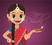 stock photo of sherwani  - Vector Indian Girl Holding Pelita Oil Lamp Celebrating Deepavali  - JPG