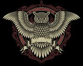 foto of spread wings  - fully editable vector illustration of owl crest isolated on black background - JPG