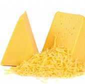 picture of shredded cheese  - The fresh cheese isolated on white background - JPG