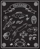 pic of lobster  - Fish and seafood blackboard vector elements with white line drawings of fish  ships wheels  calamari  lobster  crab  sushi  shrimp  prawn  mussel  salmon steak in a frame with a ribbon banner - JPG