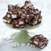 stock photo of chocolate fudge  - Rocky road fudge with marshmallow and nuts - JPG