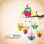 pic of snow owl  - Template Christmas greeting card - JPG