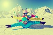 picture of family ski vacation  - Skiing - JPG