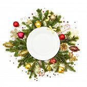 picture of weihnachten  - Christmas plate with fir - JPG