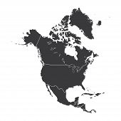 picture of continent  - An Outline on clean background of the continent of North America - JPG