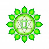 foto of kundalini  - Illustration of a green heart chakra mandala - JPG