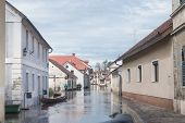 picture of flood  - Rural village houses in floodwater - JPG