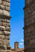 stock photo of aqueduct  - The famous ancient aqueduct in Segovia Spain - JPG